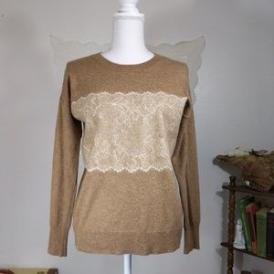 J.Crew taupe brown wool sweater with lace applique